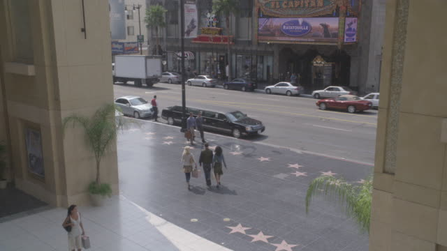 high angle down of pedestrians walking on the hollywood walk of fame in front of the kodak theater on hollywood boulevard - the dolby theatre stock videos & royalty-free footage
