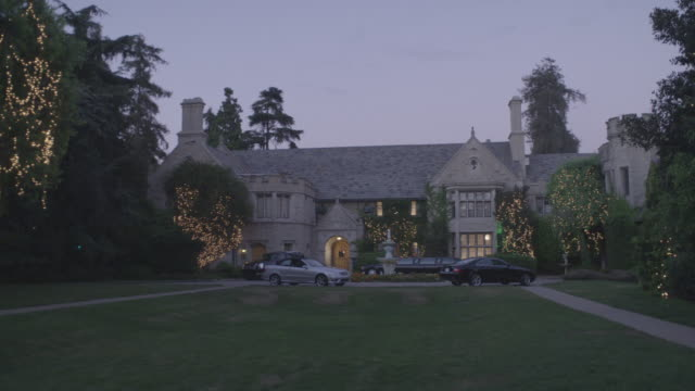 wide angle of the playboy mansion - playboy mansion stock videos & royalty-free footage