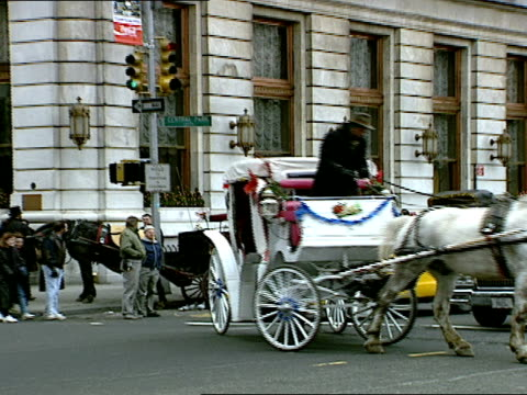 zoomout as a horse drawn carriage crosses a busy intersection in front of the plaza hotel in new york - cocchio video stock e b–roll