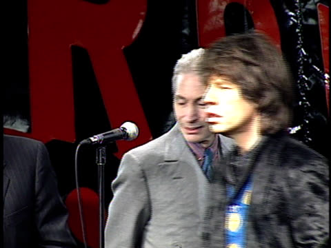 mick jagger keith richards ron wood and charlie watts on stage to announce tour - rolling stones stock videos & royalty-free footage