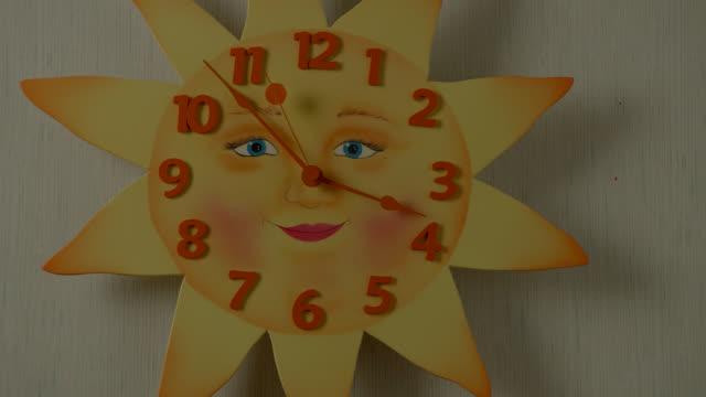 CLOSE ANGLE OF SUN-SHAPED CLOCK.
