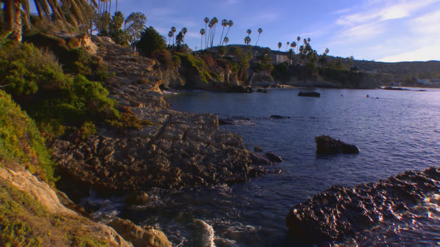 wide angle of cove in laguna beach. palm trees and rocky coast visible. - laguna beach california video stock e b–roll