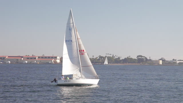 WIDE ANGLE OF SAILBOAT IN SAN DIEGO HARBOR OR BAY.