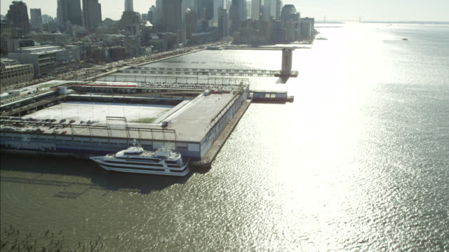 AERIAL OF NEW YORK WATERFRONT.