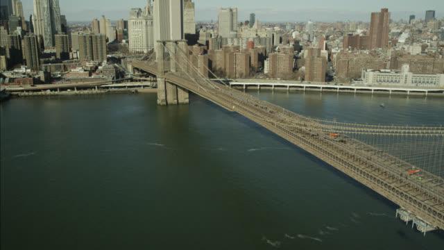 AERIAL OF BROOKLYN BRIDGE. CITY SKYLINE VISIBLE.