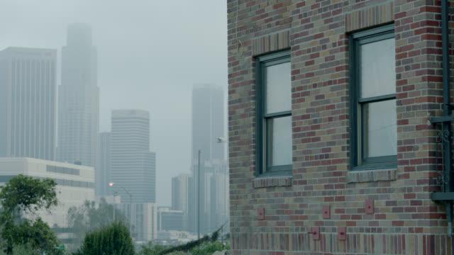 medium angle of apartment building window. brick building. city skyline in bg. - campo totale video stock e b–roll