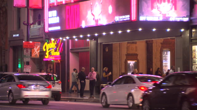 pan up of sign for pantages theater in hollywood. - theater marquee commercial sign stock videos & royalty-free footage