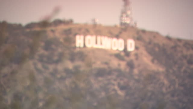 WIDE ANGLE OF HOLLYWOOD SIGN. LANDMARKS.