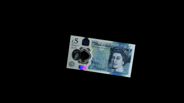 NEW UK £5 NOTE FALLING THROUGH FRAME IN SUPER SLOW MOTION 2000 FPS HD
