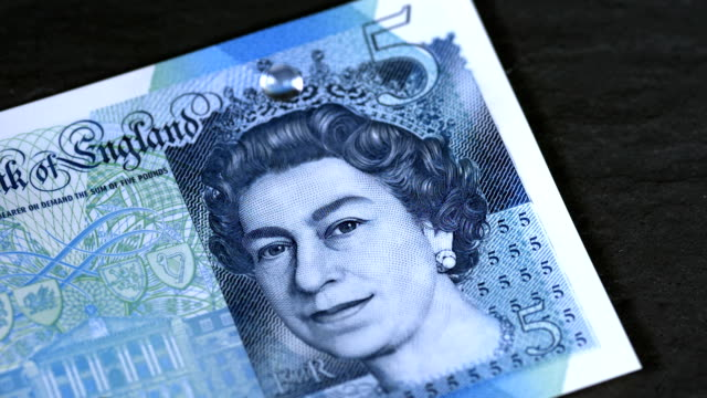 water droplets hitting the new uk waterproof £5 note in super slow motion, 2000 fps, hd. - super slow motion stock videos & royalty-free footage