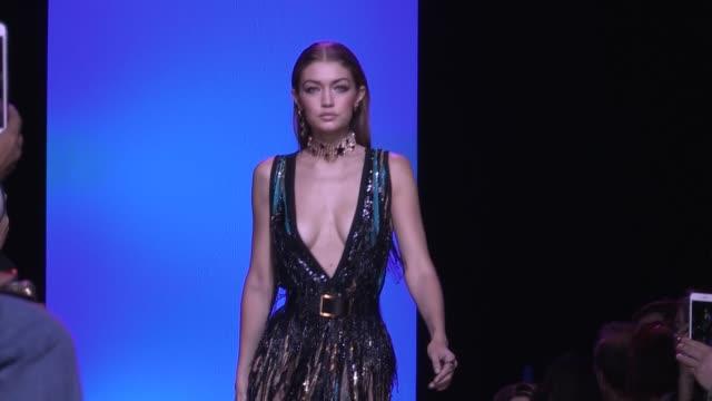 gigi hadid runway elie saab fashion show | ready to wear spring summer 2017 | paris fashion week - gigi hadid stock videos & royalty-free footage