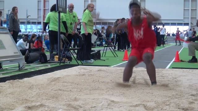long jumper heads right to camera after jump - salmini stock videos & royalty-free footage