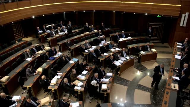 vidéos et rushes de beirut parliament quota session - bâtiment du parlement