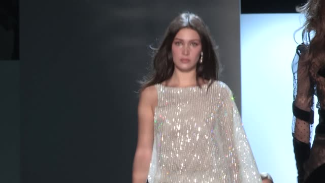 runway alexandre vauthier fashion show | haute couture spring summer 2017 | paris fashion week - bella hadid stock videos & royalty-free footage