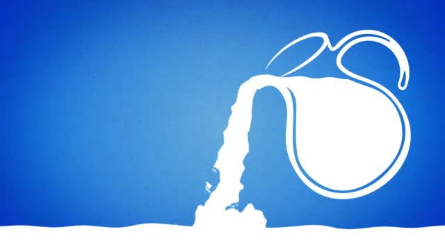 jug pouring milk - 2d graphic animation - milk jug stock videos & royalty-free footage