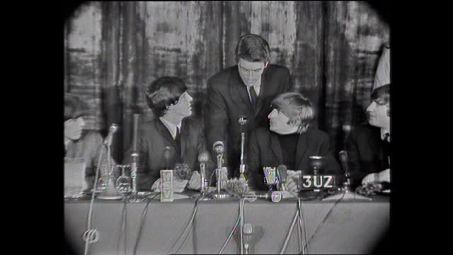 various shots beatles presser questions eg re wild scenes outside hotel - ringo starr stock videos & royalty-free footage