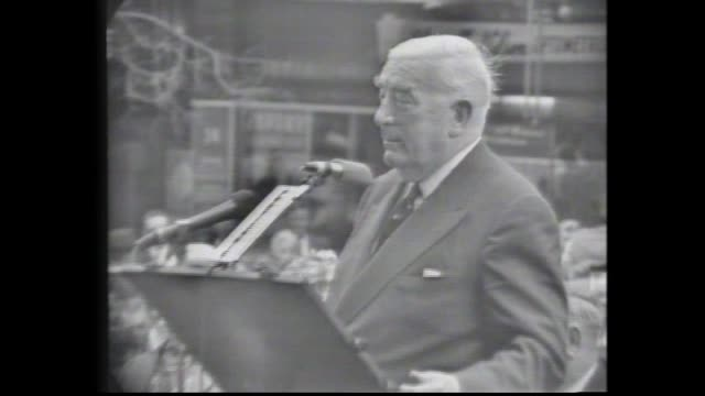 sir robert gordon menzies speaks at a perth rally and eloquently deals with hecklers regarding his age. - prime minister stock videos & royalty-free footage