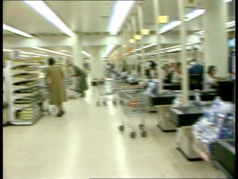 vídeos de stock e filmes b-roll de contaminated baby food contaminated baby food sainsbury's shop interior as shelves stocked r - sainsburys