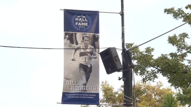 bill rodgers four time winner hall of fame banner - salmini video stock e b–roll