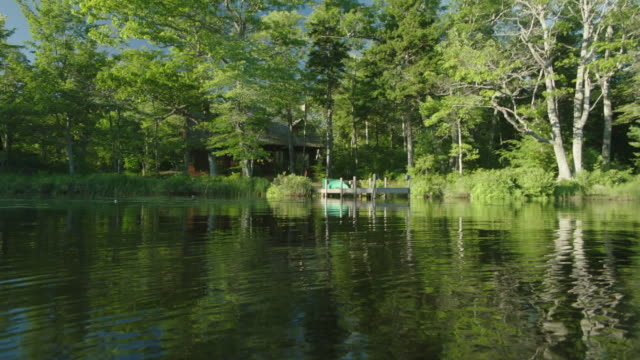 MEDIUM ANGLE MOVING POV ACROSS SURFACE OF LAKE OR POND. HOUSE OR CABIN IN BG. LILY PADS AND REEDS. DOCK IN BG. TREES ALONG SHORE.