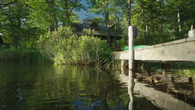 MEDIUM ANGLE OF HOUSE OR CABIN IN BG. DOCKS. TREES ALONG SHORE. LAKE OR POND.