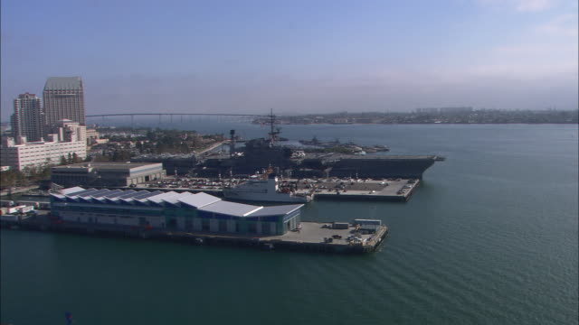 AERIAL OF USS MIDWAY, AIRCRAFT CARRIER AND NAVY SHIP. CITY SKYLINE IN BG.