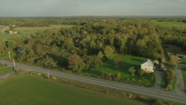 aerial of farmland and trees or forest. rural areas. meadows and fields. - nova scotia stock videos and b-roll footage