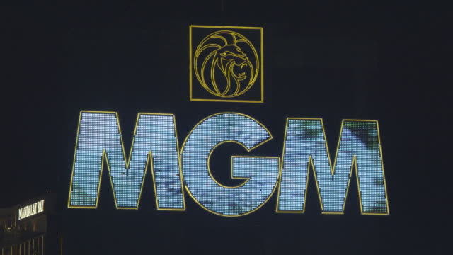 close angle of mgm grand hotel and casino sign in las vegas. - mgm grand las vegas stock videos & royalty-free footage