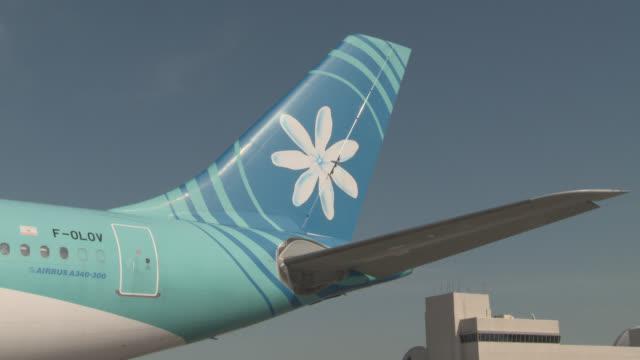 MEDIUM ANGLE OF TIARE FLOWER LOGO ON AIRPLANE TAIL. AIR TAHITI NUI.