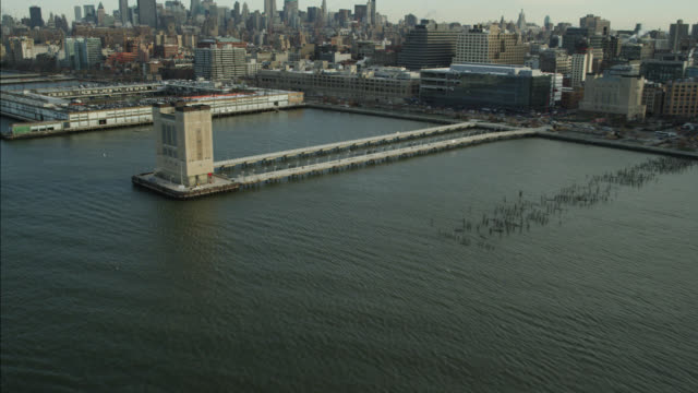 AERIAL OF NEW YORK CITY WATERFRONT. CITY SKYLINE AND HIGH RISES VISIBLE.