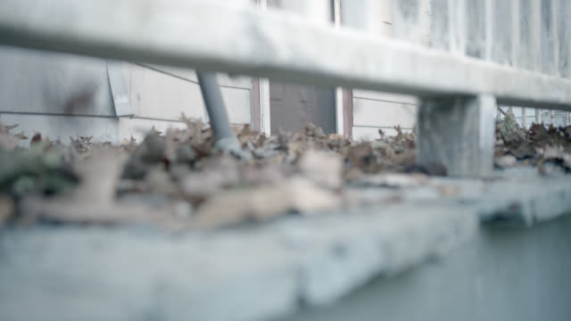 close angle of dried leaves on porch. wind. - cleveland stock videos and b-roll footage
