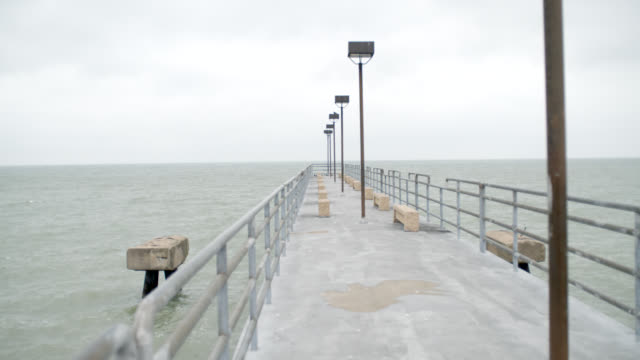 medium angle of pier going out to lake erie. cloudy and overcast. - lago erie video stock e b–roll