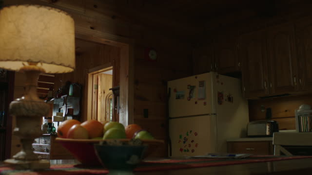 MEDIUM ANGLE OF KITCHEN IN WOODEN CABIN, LAKE OR VACATION HOUSE. BOWL OF FRUIT. REFRIGERATOR.