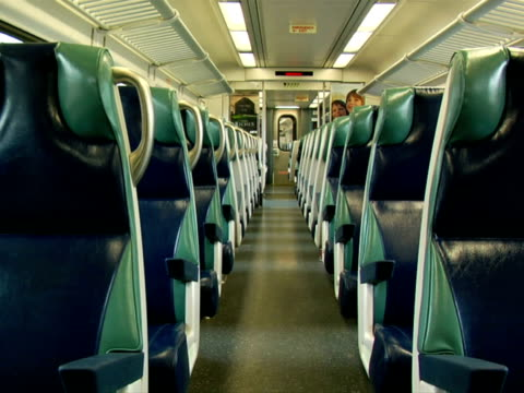 empty train car - placca di montaggio fissa video stock e b–roll