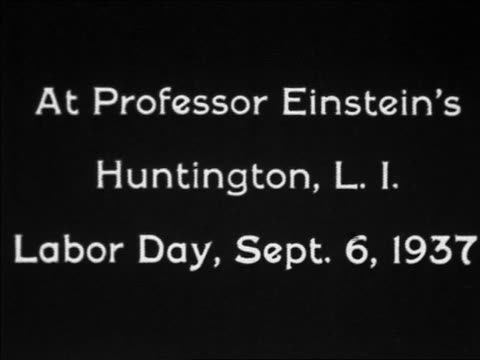 1937 black and white title announcing professor einstein's long island labor day celebration - albert einstein stock videos & royalty-free footage