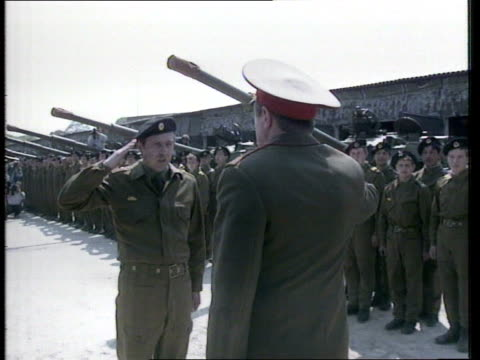 Defence Cuts European Reaction East Germany F'back Soviet troops lined up tanks along on rail wagons TX