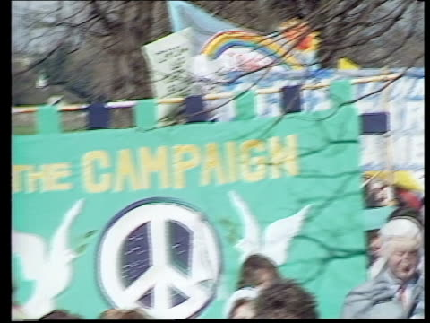 Campaign for Nuclear Disarmament march to mark three decades of protest ENGLAND London EXT Protesters march with banners towards PAN