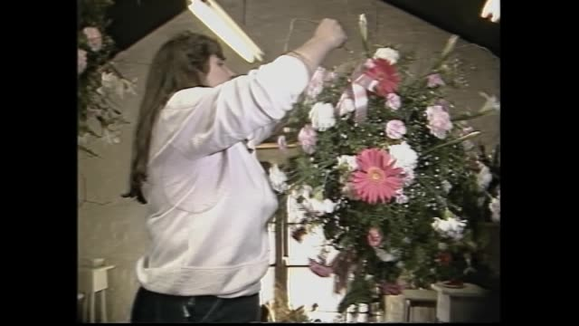 vídeos de stock e filmes b-roll de montage - royals meet crowds / yesterday charles and di in mini cars / flowers prepared - floral arrangements / florist lindsay mcmahon talks / ext.... - 1985
