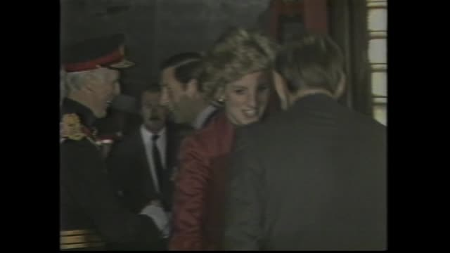 heathrow airport london – princess diana and prince charles shake hands as farewelled for australian tour / graphic map victorian tour / tracking... - 1985年点の映像素材/bロール