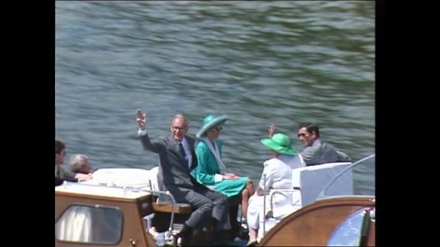 VARIOUS SHOTS ROYAL BARGE TRAVELLING ACROSS SYDNEY HARBOUR FLYING GOVERNOR GENERAL'S FLAG PRINCE CHARLES AND PRINCESS DIANA ON BOARD GOVERNOR GENERAL...