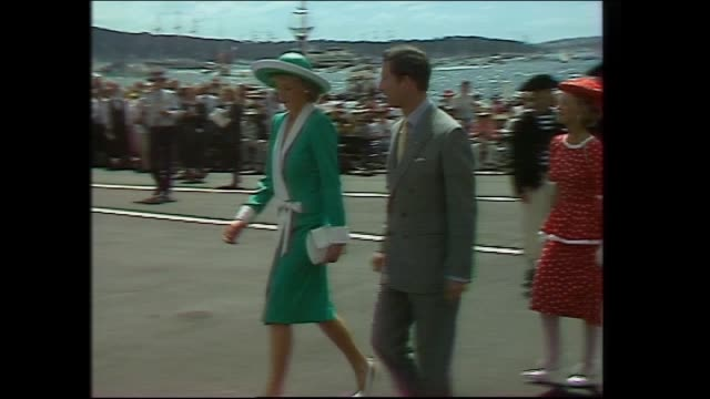 arrival of official party walking past heritage guard / mr mrs unsworth sir ninian and lady stephen prince charles and princess diana prime minister... - bob hawke stock videos and b-roll footage