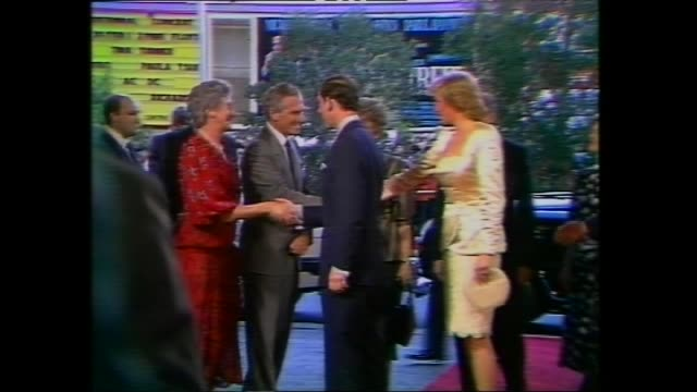 prince charles and princess diana arriving for concert at entertainment centre – greeting officials – along red carpet with nsw premier barrie... - princess stock videos & royalty-free footage