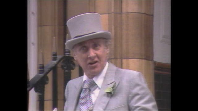 "presenter derryn hinch intro / comedian spike milligan ""poet laureate of woy woy"" wearing grey top hat and tails recites poem in honour of the royal... - souvenir stock videos and b-roll footage"