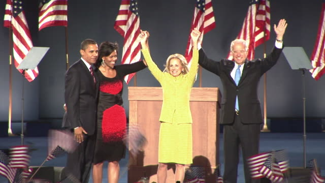 november 4 2008 ws presidentelect barack obama with wife michelle and vice presidentelect joe biden with wife jill waving to crowd in grant park... - 2008 stock videos & royalty-free footage