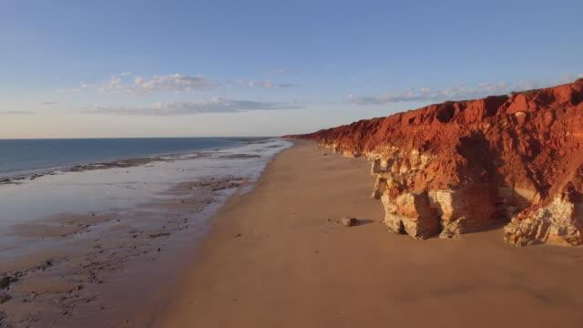 australia_drone_australia_16_4k_broome_red_cliffs_kimberleys_outback_coast_open - coastline stock videos & royalty-free footage