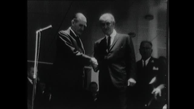 NEWS READER ROGER CLIMPSON INTRO – FOREIGN DIGNITARIES HAVE ARRIVED FOR THE MEMORIAL SERVICE OF PRIME MINISTER HAROLD HOLT / US PRESIDENT LYNDON...