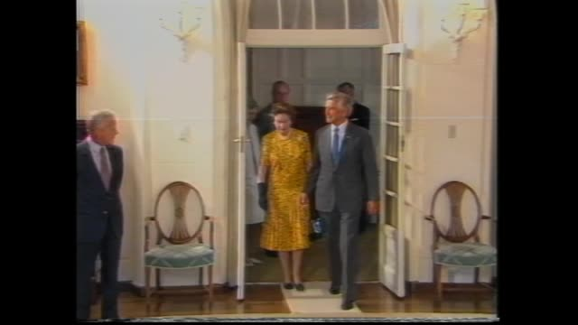the queen in australia to sign the australia act into law canberra queen elizabeth ii and prince philip off plane royals off plane – prime minister... - bob hawke stock videos and b-roll footage