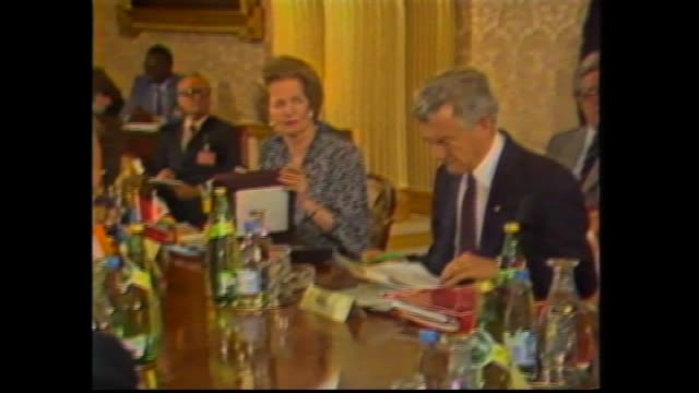 commonwealth heads of government mini summit london australian prime minister bob hawke and canadian prime minister brian mulroney together / hawke... - bob hawke stock videos and b-roll footage