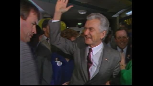 natsot bob and hazel hawke walk surrounded by supporters – smiling and waving - bob hawke stock videos and b-roll footage
