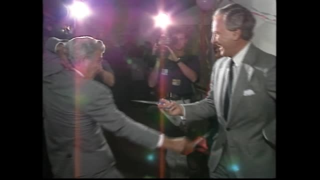 election night 1983 bob hawke and hazel celebrate win to become prime minister / bill hayden and hawke shake hands / hayden and hawke presser – hawke... - polo shirt stock videos & royalty-free footage